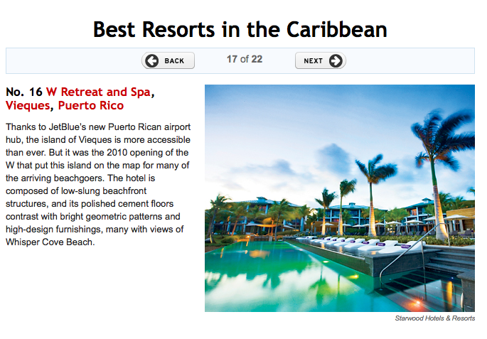 W Retreat & Spa – Best Caribbean Resorts by Travel & Leisure