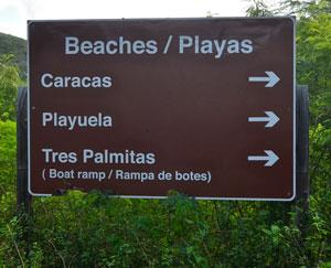 Playa Caracas / Caracas Beach - Sign to beach - Vieques, Puerto Rico